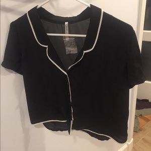 DNA couture black and white tie front button down